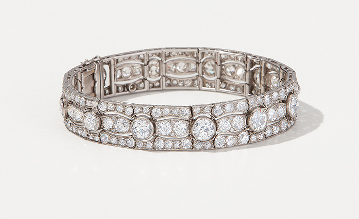 Diamantarmband ca. 1915, Platin, Gold mit Diamanten ca. 18 ct.